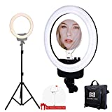 "Nanguang LED Ring Light 16"" Bi-color Dimmable Ring Light with Stand,Cellphone Holder,Mirror for Outdoor Shooting, Live Streaming,Make Up,Youtube Video"