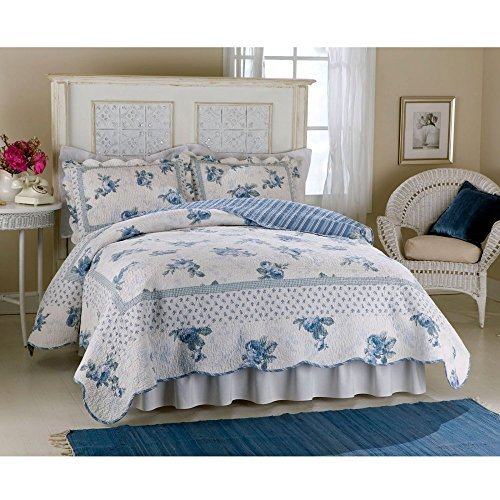American Traditions Rose Blossom Blue Quilt by American Traditions