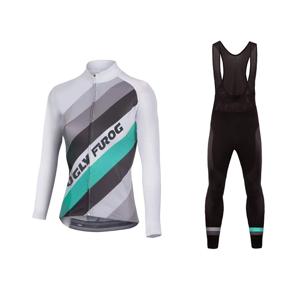 color 37 Small Uglyfrog Winter Thermal Women Cycling Jersey Suits bib Pants color Stripe