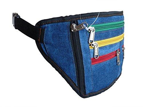Denim Rasta groß XL Gürteltasche flach Geld Gürteltasche - Jamaika Flag Farbe Gürteltaschen Hüfte Taschen - Fest Gürteltasche - blau Jeans Stoff Stoff - Bob Marley Reggae Reißverschluss grün gelb rot