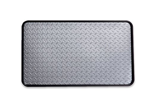 Resilia - Boot Tray, Shoe Tray, and Floor Mat - Silver Insert with a Black Tray, 17 Inches x 28 Inches, Made in The ()