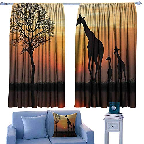 Mannwarehouse Africa Novel Curtains Giraffes on Bushes by The Lake Surface Horizon in The Middle of Nowhere Image for Living, Dining, Bedroom (Pair) 72