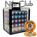 1000 Ct Nile Club 10 Gram Ceramic Poker Chip Set w/ Acrylic Carrier