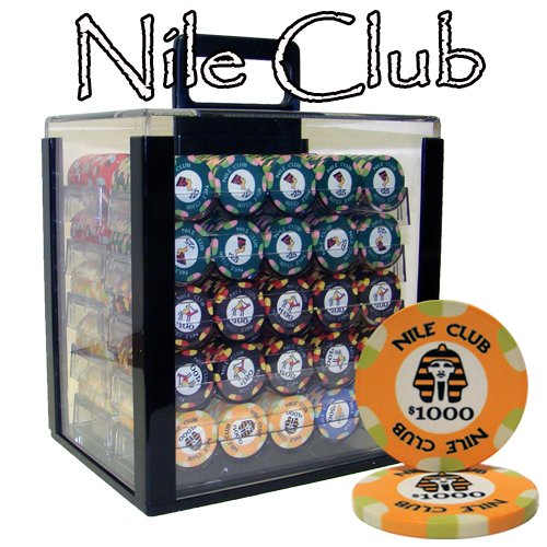 - Brybelly 1,000 Ct Nile Club Poker Set - 10g Casino Grade Ceramic Chips with Acrylic Display Case for Casino Games