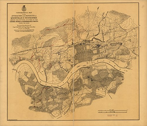 1864 Civil War map of Knoxville, Tennessee Topographical of the approaches and - Men's Clothing Knoxville