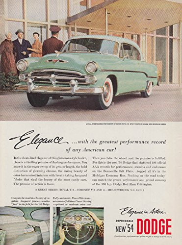 Elegance with the greatest performance record Dodge Royal Sport Coupe ad 1954 NK