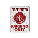 Novelty Firefighter Metal Sign, Funny Firefighter Parking Only Metal Signs, 12 x 9 Metal Signs for Fire Fighter, Firetruck Parking Sign, Fire Fighter Wall Decor, Firefighter Decor, Fire Fighter Signs