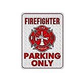 Novelty Firefighter Metal Sign, Funny Firefighter Parking Only Metal Signs, 12 x 9 Metal Signs for Fire Fighter, Firetruck Parking Sign, Fire Fighter Wall Decor, Firefighter Decor, Fire Fighter Signs