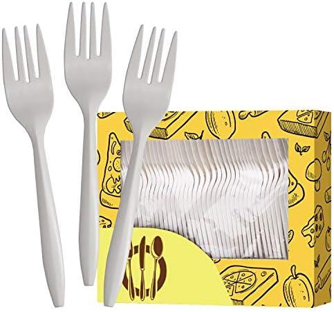 堆肥化フォーク 厚手生生分解性カトラリー 使い捨てフォーク プラスチックフォークの代替 環境に優しい調理器具 パーティー BBQ 卒業式 結婚式 ホワイト 6インチ