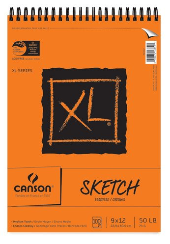 Canson XL 9 x 12 Inches Sketch Sheet Pad, Top Wire Binding