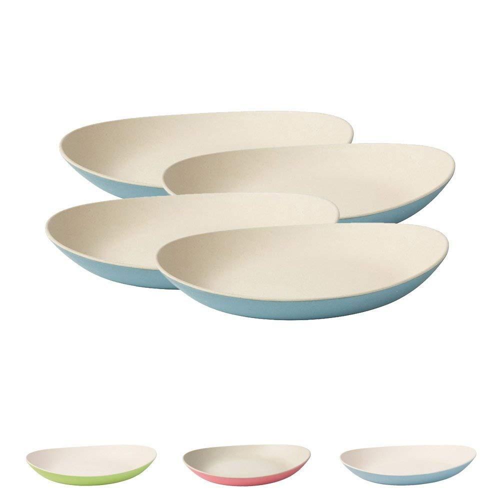 BIOZOYG Set di piatti in bambù I Piatto per bambini Piatto torta per scodella I Piatti di bambù organico I 4 piatti ovali da pranzo in melamina bianco naturale/blu, 22,5 x 19 cm Bionatic