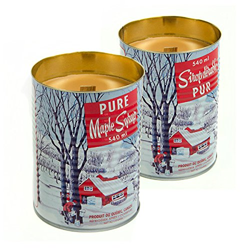 Maple Syrup Candle with a Crackling Wooden Wick. Natural Soy Wax Candles. Burns Clean, Even, and True-to-scent for Hours 540ml X 2 Pieces by Seracon Products