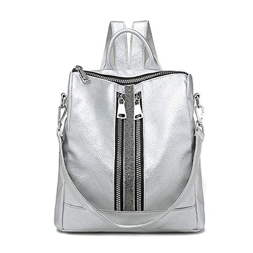 - Silver New Zipper Lady Backpack Travel Small Backpacks PU Leather Waterproof Women Bag Silver