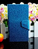 Bling Glittery Powdery Style PU Leather Flip Stand With Card Slot Wallet Case Cover For Vodafone Smart 4 Mini (Blue)
