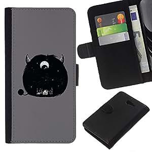 KLONGSHOP // Tirón de la caja Cartera de cuero con ranuras para tarjetas - Furry Monster lindo Cuerno Gris de ojos - Sony Xperia M2 //