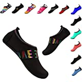 YALOX Water Shoes Women's Men's Outdoor Beach Swimming Aqua Socks Quick-Dry Barefoot Shoes for Surfing Yoga Exercise(ZM-Black,40/41EU)
