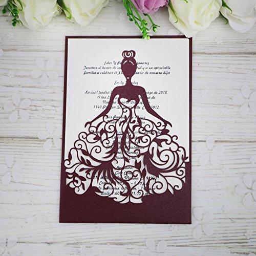 PONATIA 25PCS Lacer Cut Wedding Invitations Card Hollow Bride Invitations Cards for Wedding Bridal Invitation Engagement Invitations Cards (Burgundy)