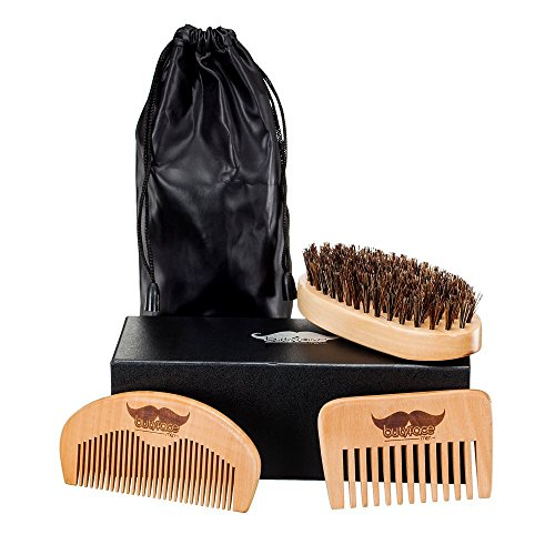 Beard Brush and Comb, A Set of Beard Grooming Care Kit of Bristle Beard Brush and Natural Wood Beard/Hair Combs for Blam or Oil, Best Mostache Accessories Gift for Beard Men
