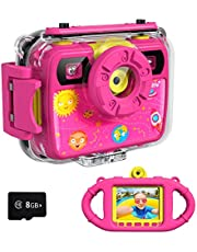 Ourlife Kids Camera, Selfie Kids Waterproof Digital Cameras for Kids 1080P 8MP 2.4 Inch Large Screen with 8GB Memory Card, Silicone Handle and Fill Light,2020 Upgraded (Pink)