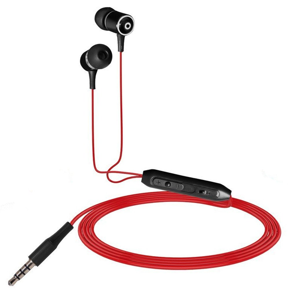 SMARTED Wired Cell Phone Headsets Noise Cancelling Earphone Metal Material with Mic and Volume Control for 3.5mm Audio Devices Mobile Phone (Red)