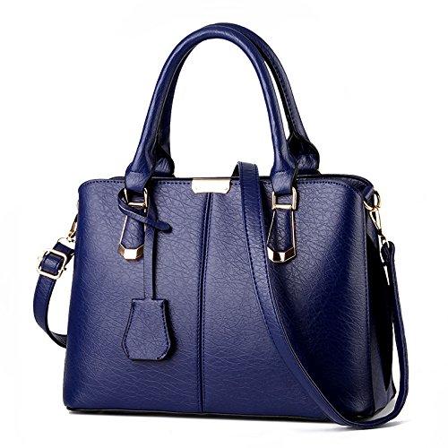 Meoaeo La Nueva Bolsa De Cuero Dama Bolso Bolso Bolso Bronce Royal Blue