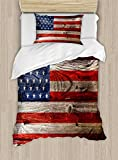 Ambesonne USA Duvet Cover Set Twin Size, Fourth of July Independence Day Weathered Retro Wood Wall Looking Country Emblem, Decorative 2 Piece Bedding Set with 1 Pillow Sham, Red Blue Tan