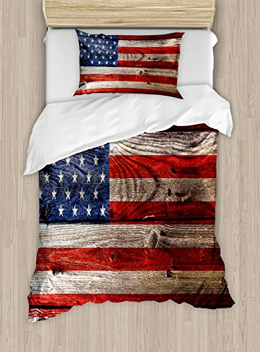 Ambesonne USA Duvet Cover Set Twin Size, Fourth of July Independence Day Weathered Retro Wood Wall Looking Country Emblem, Decorative 2 Piece Bedding Set with 1 Pillow Sham, Red Blue Tan Clear Set Headboard