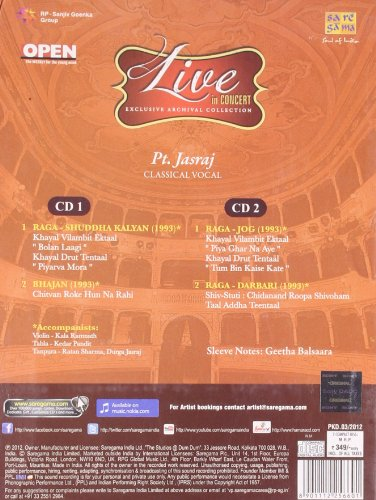 Live In Concert - Pt. Jasraj (Exclusive Archival Collection / Hindustani Classical Vocal / 2-CD Set) by SAREGAMA (Image #1)