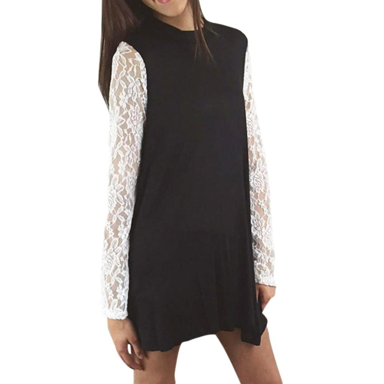 KaiCran Women Long Sleeve Blouse Lace Stitching O-Neck T-Shirt Pullover Tops Blouse (Black, Medium)