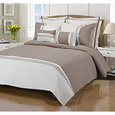 Emma 7-Piece, Wrinkle Resistant, Full/Queen Duvet Cover Set, Ivory/Taupe