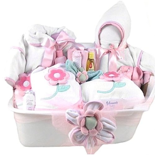Amazon.com : Pampered New Baby Girl Bath Time Gift Basket - Great ...