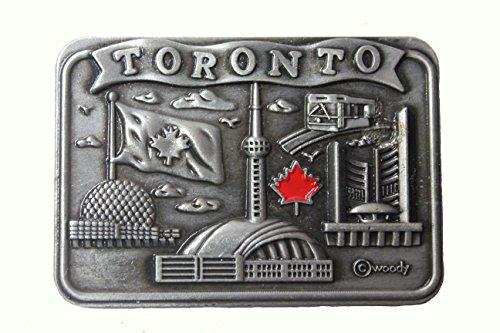 TORONTO , Skyline CN Tower , Maple Leaf SILVER Square Fridge Magnet .. Size : 2.5