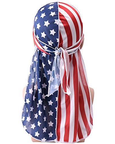 (YI HENG MEI 2PCS/3PCS 360,540,720 Waves Color Block Silky Long Tail Durag Bandana Turban (1 Piece-The American Flag))