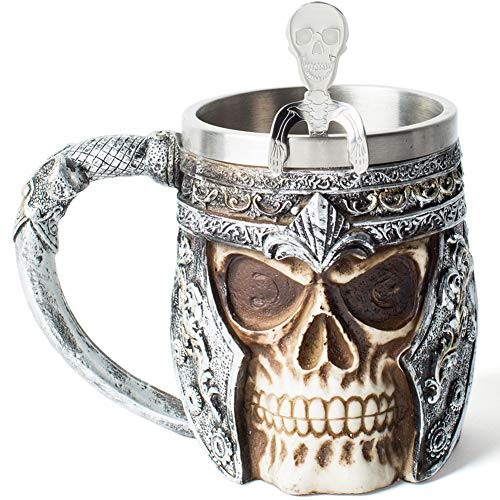 Viking Skull Drinkware Coffee Cup Beer Mug Gifts for Men, Stainless Steel Mug Viking Drinking Horn Bar Cup Nordic Gifts for Halloween, Christmas and Home Decor