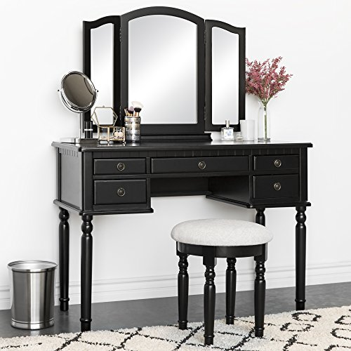 Best Choice Products Bedroom Makeup Cosmetic Beauty Vanity Hair Dressing Table Set w/Tri-Folding Mirror, Upholstered Stool Seat, 5 Drawer Storage Organizers - Black