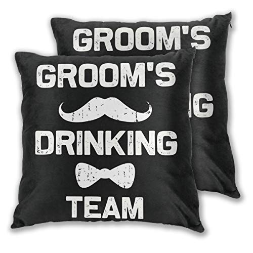 Padida Pack of 2 Customize Pillow Case, Grooms Drinking Team Bachelor Party Squad Crew - Groomsman G Square Throw Polyester Fiber Pillow Case Decorative Cushion Pillow Cover 16