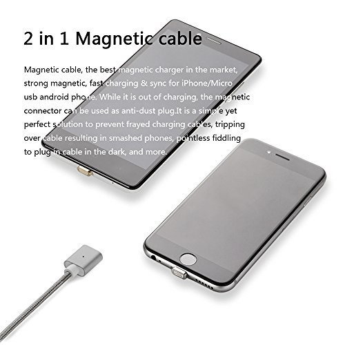 NetDot 3rd Generation USB2.0 Magnetic Charging Cable Adapter with 1 iOS Connector and 1 Micro-USB Connector Compatible with Both Android Smartphone and iPhone - 3.3 Feet / 3 Pack Gray