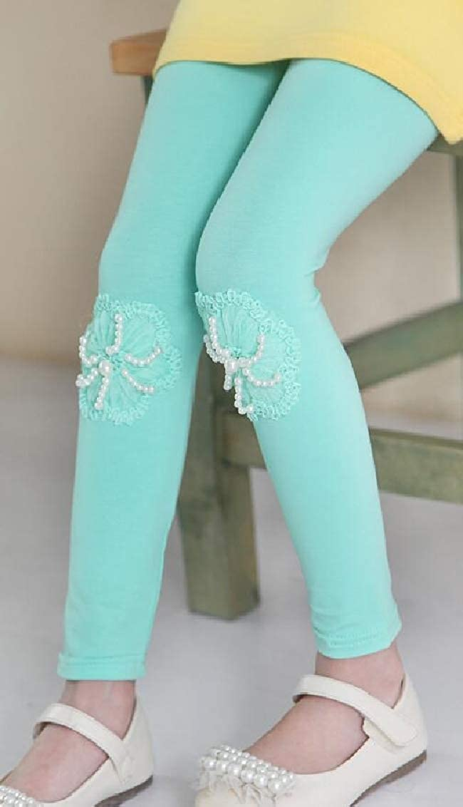 Hajotrawa Girls Applique Comfortably Cute Stretch Pants Basic Legging
