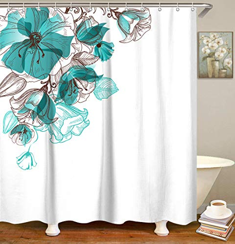 LIVILAN Floral Shower Curtain Set with 12 Hooks Bath Curtain Fabric Privacy Curtain Home Decorations, 70.8