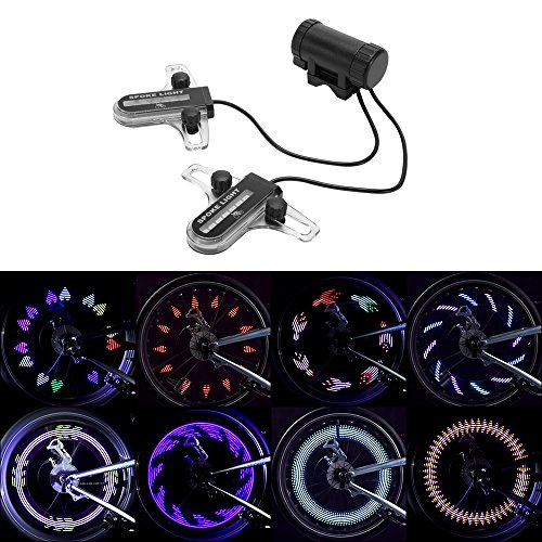 XCSOURCE Colorful Bike Wheel Light 30 Patterns Dual-Side 14 LEDs Bicycle Cycling Wheel Tire Spoke Lamp Safety Warning Light CS625 by XCSOURCE (Image #1)