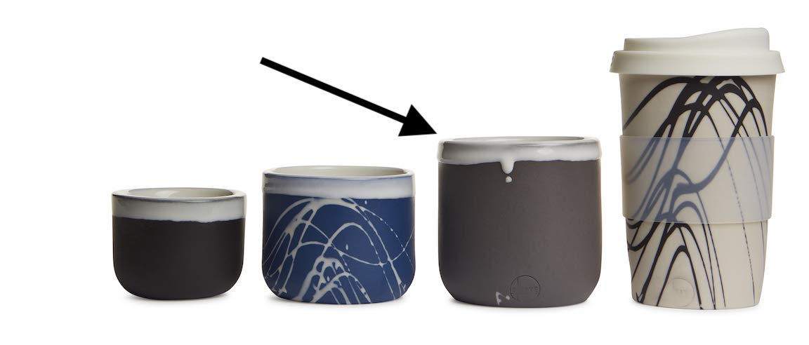 handmade a pair of coffee//latte//cappuccino cups porcelain 2 cups no handle. stackable 10oz solid black