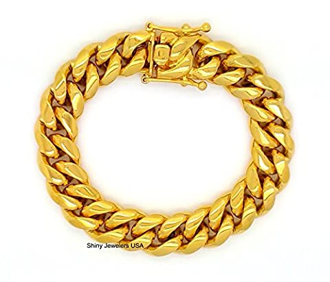 MENS 15mm HIP HOP HEAVY GOLD FINISH MIAMI CUBAN LINK CHAIN NECKLACE OR BRACELET WITH BOX CLASP (8