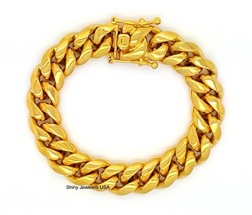 Chain 15mm (MENS 15mm HIP HOP HEAVY GOLD FINISH MIAMI CUBAN LINK CHAIN NECKLACE OR BRACELET WITH BOX CLASP (8