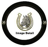 White Horse w/ Golden Horseshoe Gem Crystal Studded Rhinestone Bling Car Truck SUV Steering Wheel Cover