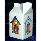 Milk carton shaped jug off white ceramic decorated with beach hut patten by crackinchina