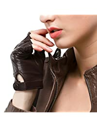 "Nappaglo Women's Driving Leather Gloves Nappa Leather Half Finger Fingerless Gloves Fitness Lined Gloves for Driving Cycling Motorcycling (L (Palm Girth:7.5""), Brown)"