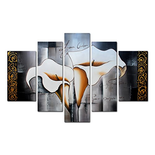 FLY SPRAY 5-Piece 100% Hand Painted Oil Paintings Panel Stretched Framed Ready Hang Elegant Flower White Lilies Modern Abstract Painting Canvas Living Room Bedroom Office Wall Art Home (Buy Bob Ross Painting Original)