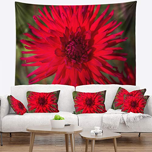 - Designart TAP13831-60-50 'Beautiful Dahlia Green' Flowers Tapestrywork Blanket Décor Wall Art for Home and Office Tapestry, Large: 60