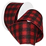 "Morex Ribbon 7457.60/10-613 French Wired Acrylic Buffalo Plaid Ribbon, 2-1/2"" x 10 yd, Red/Black"