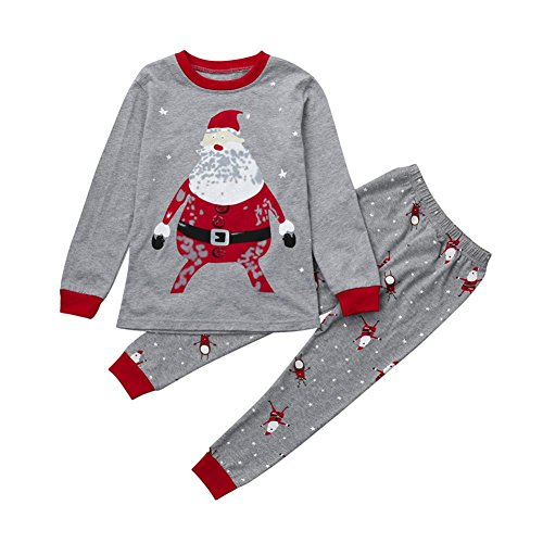 Gotd Baby Girl Boy Clothes Christmas Tops+Pants Winter Autumn Home Outfits Gifts (2T(1-2 Years), Gray)